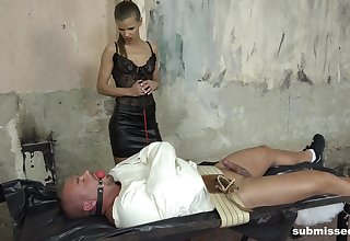 BDSM torture with a helpless male related and dominant Sarah Kay