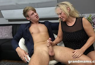 Hot rent boy bangs sex-starved old woman Marta and cums in the matter of her mouth