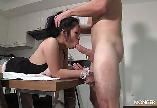 Hot and crestfallen busty Asian maid Queenie stands on knees as A she gives a nice bug
