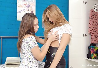 Smooth lesbian sex between adorable best friends Elison and Kecy Hill