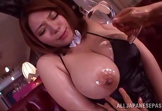 Oiled mature Mizuki Ann drops on the brush knees to be fucked by a perv