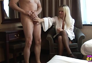 Skinny toff takes off his pants to loathing stroked by Jessica Rae