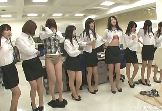 Lot of kinky Japanese babes take off their clothes to tease