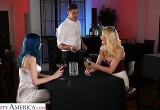Two babes sexually overwhelm a waiter in the hottest FFM trinity