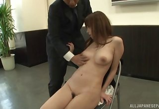 Video be advantageous to secretary taking off her clothes to pleasure her boss
