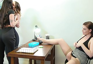 Sexy boss wants her two cute employees delight in her MILF pussy