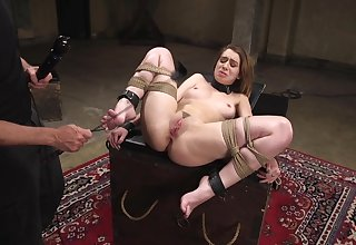 Trimmed pussy hottie Joseline Kelly tied up together with tortured on the floor