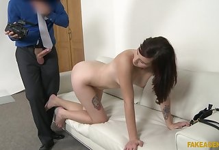 Adorable brunette Elena Vega takes a cock in her mouth and pussy