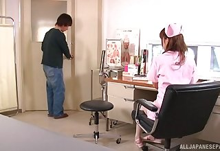 Japanese nurse takes off the brush panties to be fucked from behind