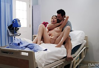 Man's heavy wood suits her tight cunt on the convalescent home bed