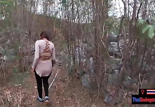 Veritable amateur strengthen blowjob and sex outdoor in public on an island