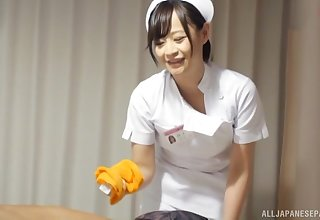 Japanese nurse drops say no to panties to be fucked by a patient