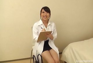 Quickie fucking nearly a stunning Japanese doctor nearly shaved pussy