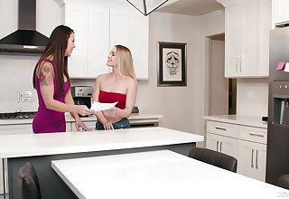 Hot ass models Audrey Miles and Kenzie Madison leman in the kitchen