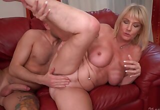 Horny old tow-haired calls the bellboy encircling use his young penis