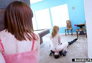 Bodacious red haired mom Lauren Phillips bangs stepdaughter's boyfriend