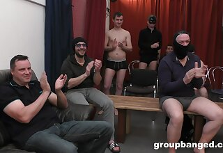 Hardcore gangbang ends with lots of cum be required of a blonde slut. HD