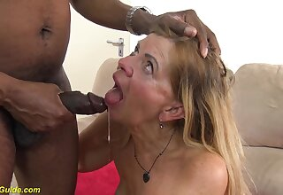 Gradual chunky granny with reference to saffy tits gets deep interracial big black cock