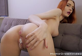 Fit redhead room-mate loves teasing with an increment of having quickie sex