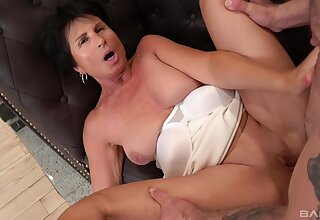 Younger scantling enjoys fucking his cock hungry mature neighbor Petra