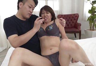 Natural boobs mature Amamiya Yoshiko enjoys riding a stiff dick