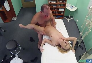 Doctors Halloween costume wardrobe malfunction gets blonde horny with the addition of wet