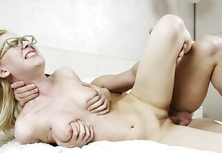 Blonde coed on every side glasses and natural soul fucked on the bed
