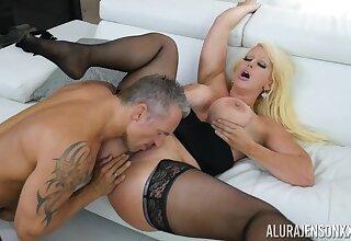 mature cougar Alura Jenson - Marcus London Black Dress