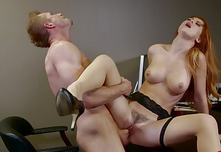 Horny redhead Karlie Montana loves getting fucked on put emphasize office directors