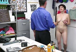 Shoplifter here a bob cut enjoys pedestrian way cop's cock against her will