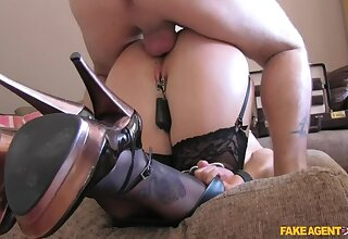 Double penetration of big titted kermis in BDSM style adult casting