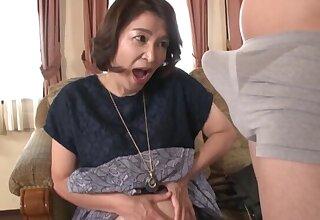 Mature Kitamura Toshiyo enjoys sucking her younger friend's locate