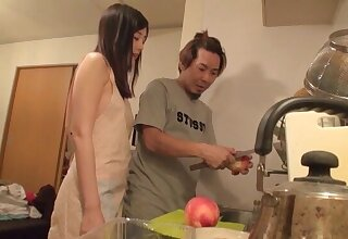 Lickerish housewife gets fucked in the kitchen - Emiri Suzuhara