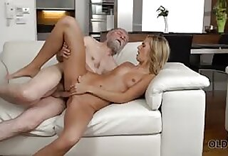 Perfect blonde girl with the brush pussy fucked by old man