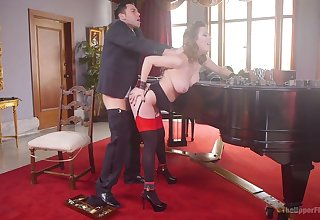 Tied up submissive hoe gets brutally fucked from behind by Seth Gamble