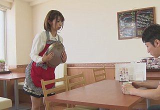Japanese waitress is sucking customer's cock