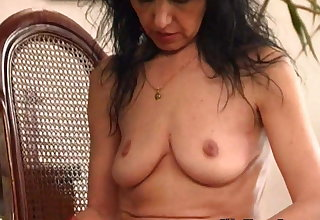 Old woman with saggy tits and hairy pussy
