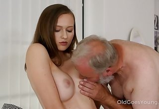 After Stacy Cruz gets caught masturbating she lets an old fart go down on her