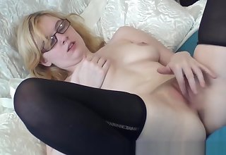 Horny Real Blonde Coed with Perfect Tits Pure Finger Rubbing Masturbating