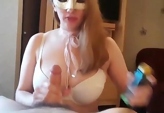 Gorgeous sensual big titty wife blowjob and cum