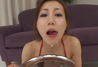 Bukkake cum shots on cuddly japanese kitten and fierce groupsex