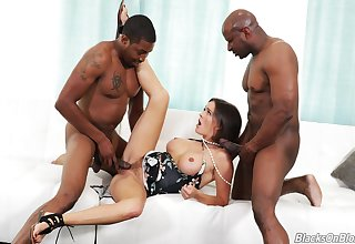 Mad threesome for the busty milf with two black thugs