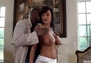 Lisa Ann gets drilled wits an ebony spear
