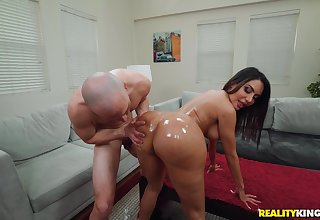 After Lela Star gets herself oiled up she enjoys rough carnal knowledge with a dude