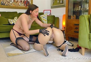 Big ass matures are having fun approximately a lezzie home portray
