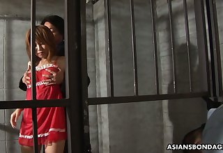 Arrested Asian chick Rio Haruna is fucked by several dudes in lock-up