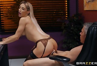 Gaunt bitch in hot lingerie, hard sex at work with along to boss