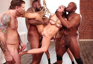 Interracial bondage BDSM gangbang for Alana Cruise