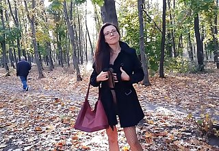 Strolling Thimbleful Smalls in Pantyhose #PUBLIC Autumn Park