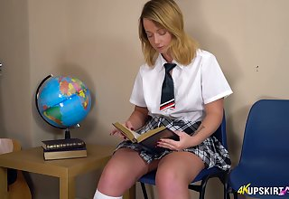 Whorish gilded student in short kilt skirt Jessica shows off puffy seize